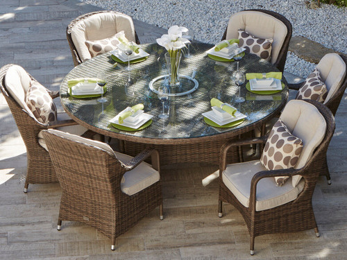 Direct Wicker Cinderella Patio Wicker 7 Piece Round Dining Set