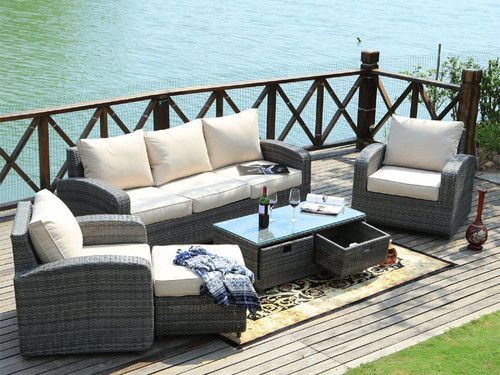 Direct Wicker Pocahontas 5pc Patio Garden Furniture Sofa Set Sectional