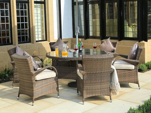 Direct Wicker Attina 7 Piece Dining Set with Cushions