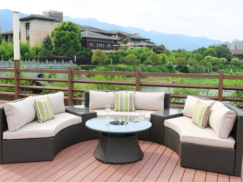 Direct Wicker Jessica 6 Piece Rattan Sectional Set with Cushions