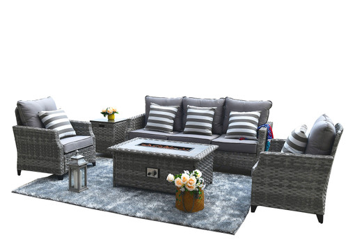 Direct Wicker Convention Sofa Set With Fire Pit Coffee Table (Single Items Included)