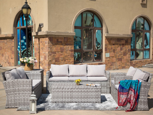 Direct Wicker  Burruss 6 Piece Rattan Conversation Set with Cushions
