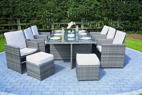 Direct Wicker 11 PCS Outdoor Patio Dining Set Metal Rattan Wicker Furniture Garden Cushioned