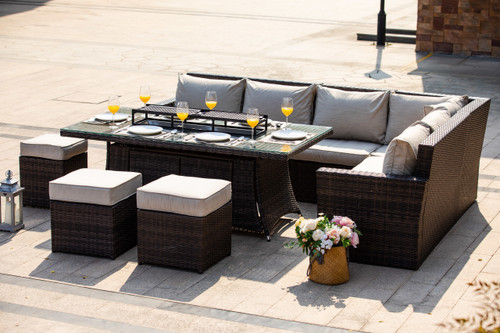 New Fashion Gas Fire Rectangle Table Patio 9 Seat Chairs and Cushions by Direct Wicker(without Grill)