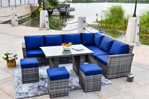 7-Piece Wicker Outdoor Sectional Set with Cushion Covers