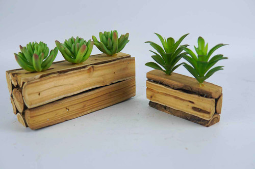2 Pieces Living Room Artificial Succulent Plant with Wood Pot