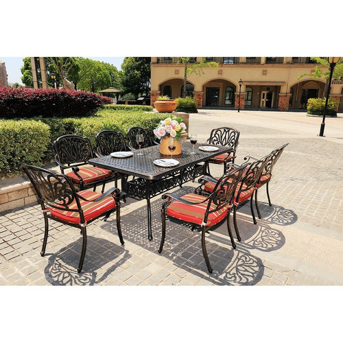 Outdoor 9-Piece All-Weather Alum Casting Garden Dining Set