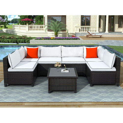 U-style Quality Rattan Wicker Patio Set, U-Shape Sectional Outdoor Furniture Set with Cushions and Accent Pillows, Green/White&Red