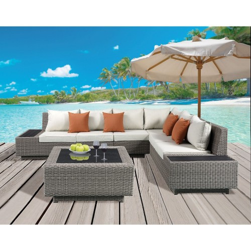 Patio Sectional & Cocktail Table in Beige Fabric & Gray Wicker
