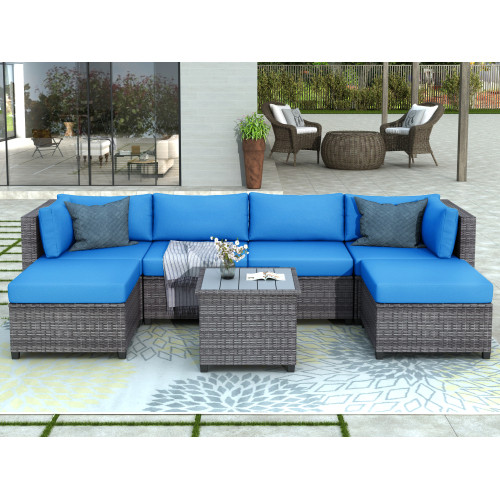 U_Style 7 Piece Rattan Sectional Seating Group with Cushions, Outdoor Ratten Sofa NEW!