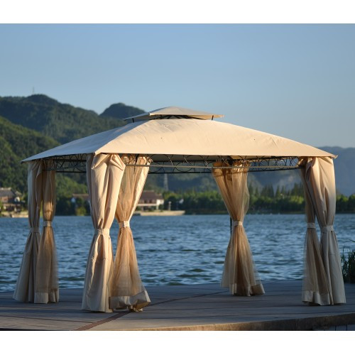 U_STYLE Quality Double Tiered Grill Canopy, Outdoor BBQ Gazebo Tent with UV Protection, Beige