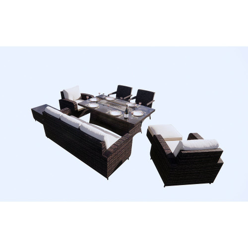 Wicker Fire Pit Dining Table with Sofa Set(without Grill)