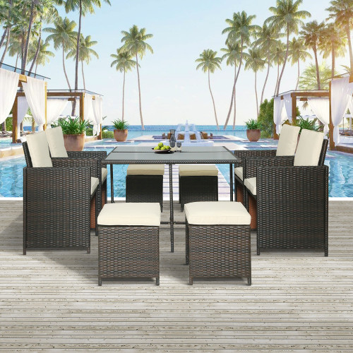 TOPMAX Outdoor Rattan Wicker Patio Dining Table Set Garden Outdoor Patio Furniture Sets (9-Piece)