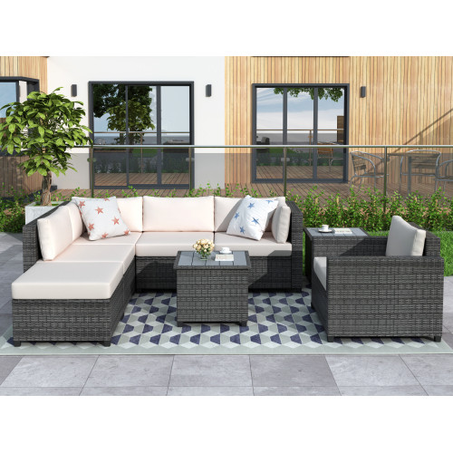 Piece Rattan Sectional Seating Group with Cushions, Patio Furniture Sets, Outdoor Wicker Sectional NEW!