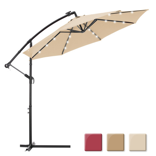 10 FT Solar LED Patio Outdoor Umbrella Hanging Cantilever Umbrella Offset Umbrella Easy Open Adustment with 24 LED Lights - tan
