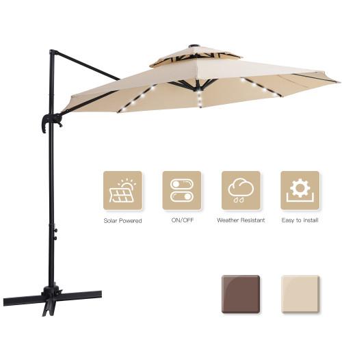 10 FT patio umbrella Solar Powered LED Patio Outdoor Umbrella Hanging Umbrella Cantilever Umbrella Offset Umbrella 360 Degree Rotation with 28 LED Lights & cross base- beige