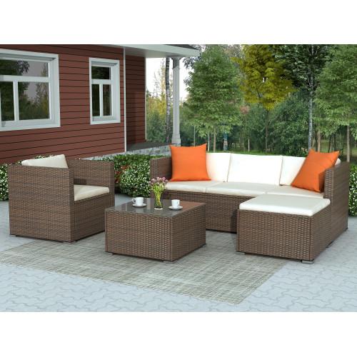 Rattan Patio Furniture Set Wicker Sofa Cushioned Sectional Furniture Set Garden Patio Sofa Set (4 Pieces, Brown)