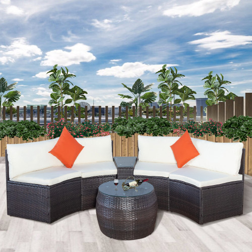 6-Piece Patio Furniture Sets, Outdoor Half-Moon Sectional Furniture Wicker Sofa Set with Two Pillows and Coffee Table, Beige Cushions