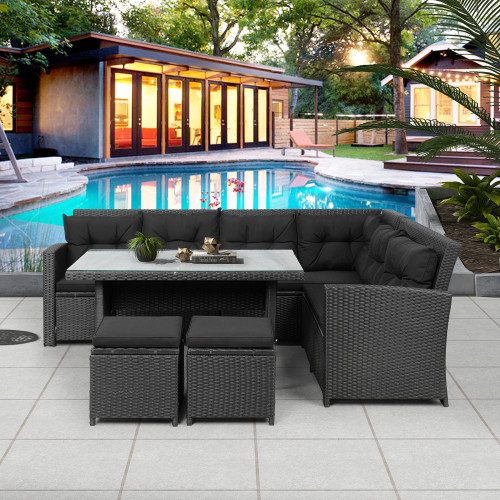 6-Piece Patio Furniture Set Outdoor Sectional Sofa with Glass Table, Ottomans for Pool, Backyard, Lawn (Black)