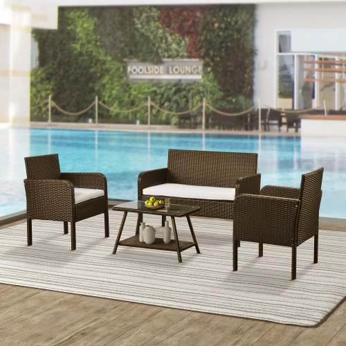 4 Piece Rattan Sofa Seating Group with Cushions, Outdoor Ratten sofa