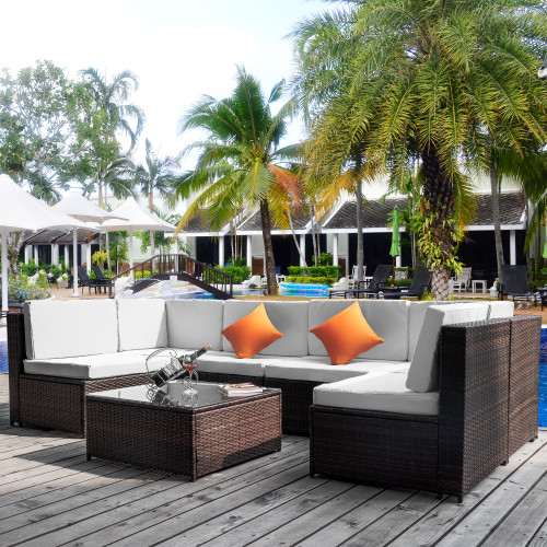 Outdoor Garden Patio Furniture 7-Piece PE Rattan Wicker Sectional Cushioned Sofa Sets with 2 Pillows and Coffee Table