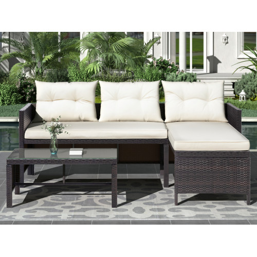 U_STYLE 3 PCS Outdoor Rattan Furniture Sofa Set with cushions