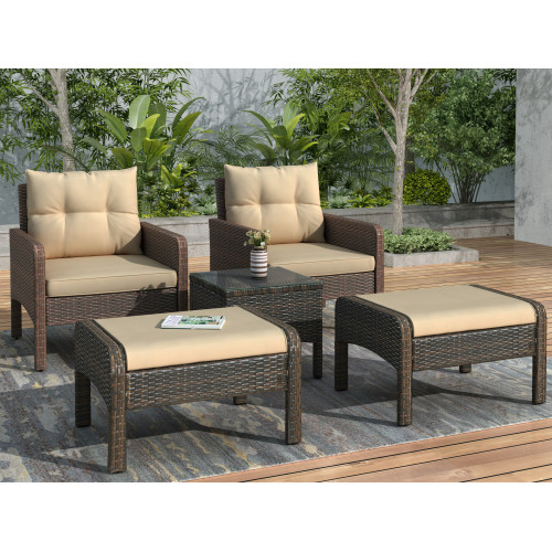 5-Piece PE Rattan Wicker Outdoor Patio Furniture Set with Glass Table