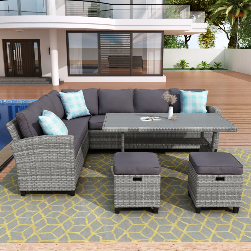 Patio Furniture Set, 5 Piece Outdoor Conversation Set All Weather Wicker Sectional Sofa Couch Dining Table Chair with Ottoman and Throw Pillows