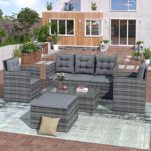 TOPMAX 5-piece Outdoor UV-proof Patio Sofa Set with Storage Bench All Weather PE Wicker Furniture Coversation Set with Glass Table, Gray