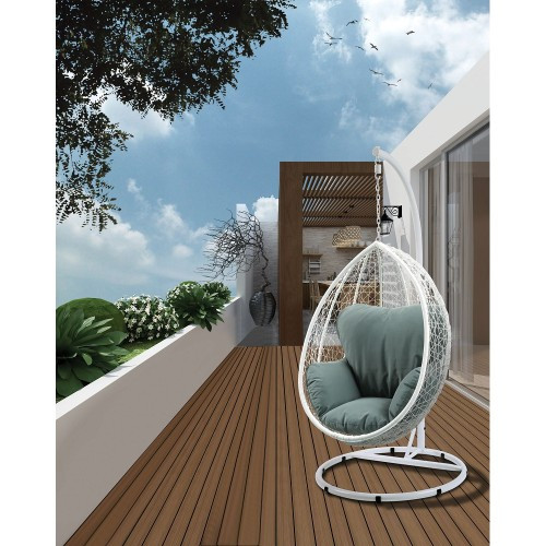 ACME Simona Patio Swing Chair with Stand in Green Fabric & White Wicker