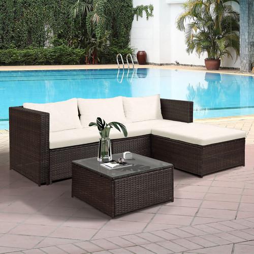 TOPMAX Rattan Patio Furniture Set Wicker Sofa Cushioned Sectional Furniture Set Garden Patio Sofa Set (5-Pieces, Beige Cushion)