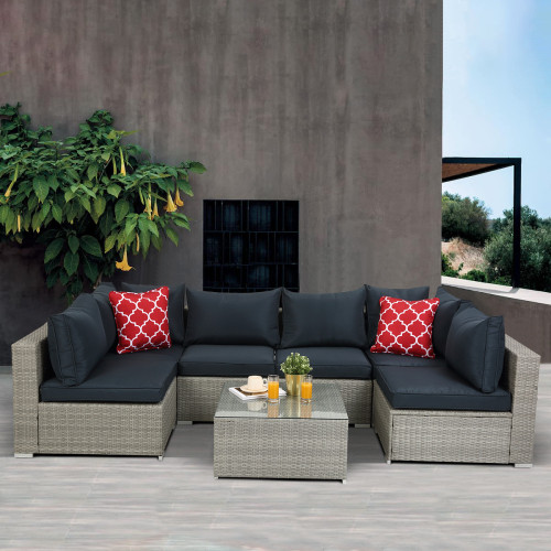 Outdoor Garden Furniture 7-Piece PE Rattan Wicker Sectional Cushioned Sofa Sets with 2 Pillows and Coffee Table
