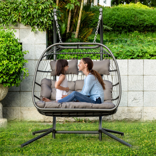 Luxury 2 Person X-Large Double Swing Chair Wicker Hanging Egg Chair