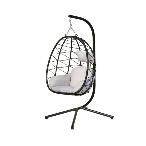 Swing Egg Chair, Hammock Chair, Hanging Chair, UV Resistant Cushion with Steel Stand, Indoor Outdoor Patio Porch Lounge Wicker Rattan Hand Made Chair