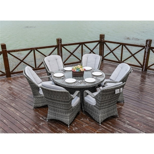 Fashion Grey Wicker round Table Chairs Set
