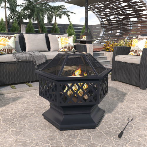U-style Outdoor Steel Wood Burning Fire Pit with Spark Screen and Poker for Camping Patio Backyard Garden (Hexagonal Shaped)