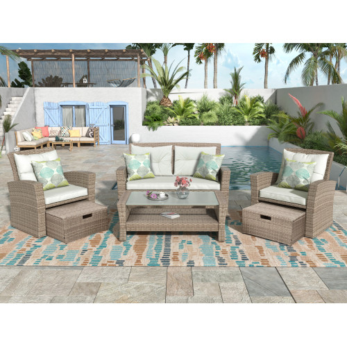 U-style Patio Furniture Set, 4 Piece Outdoor Conversation Set All Weather Wicker Sectional Sofa with Ottoman and Cushions