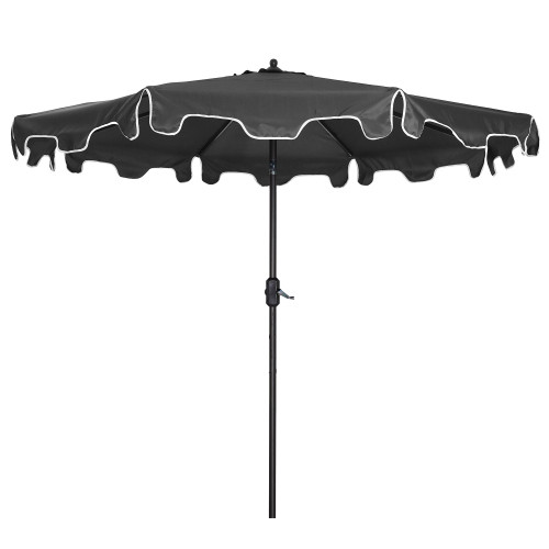Outdoor Patio Umbrella 9-Feet Flap Crank Market Umbrella with Flap[Umbrella Base is not Included]- grey