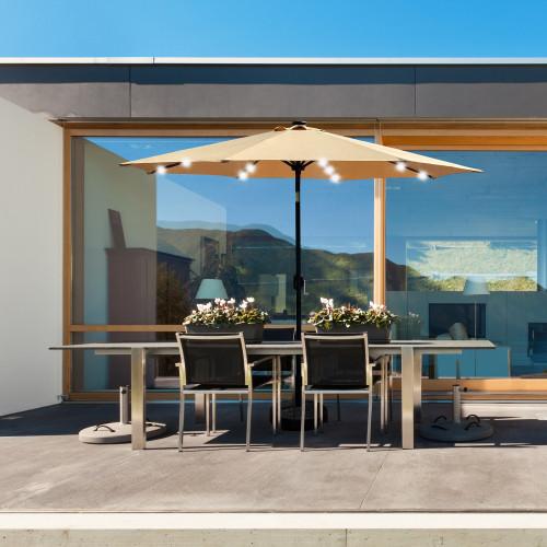 9Ft Patio Umbrella Outdoor Solar Powered Aluminum Polyester 32 LED Lighted Umbrella with Tilt and Crank for Garden, Deck, Backyard, Pool