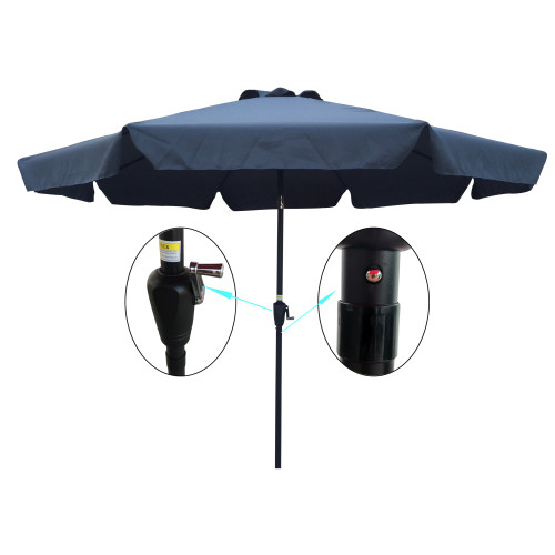 Outdoor Patio Umbrella 10FT(3m) WITH FLAP ,8pcs ribs,with tilt ,with crank,without base, grey/Anthracite,pole size 38mm(1.49inch)