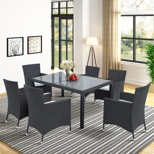 TOPMAX 7-piece Outdoor Wicker Dining set - Dining table set for 7 - Patio Rattan Furniture Set with Beige Cushion (Black)