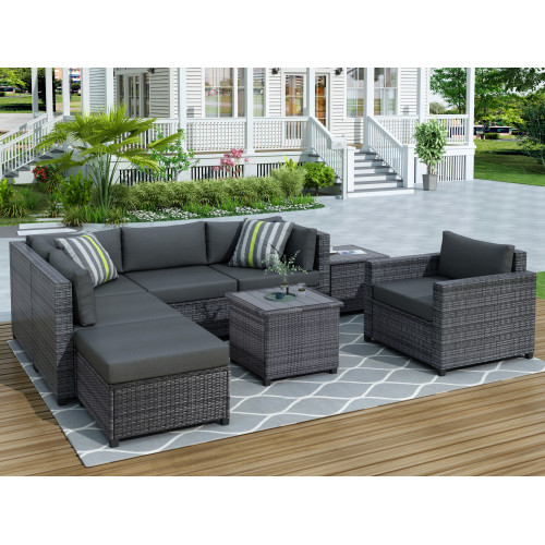 U_Style 8 Piece Rattan Sectional Seating Group with Cushions, Patio Furniture Sets, Outdoor Wicker Sectional NEW!