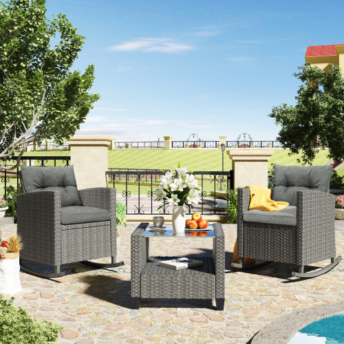 U_STYLE 3 Piece Rocking Patio Furniture Set, Wicker Rattan Outdoor Set with Cushions and Glass-Top Coffee Table for Garden Backyard
