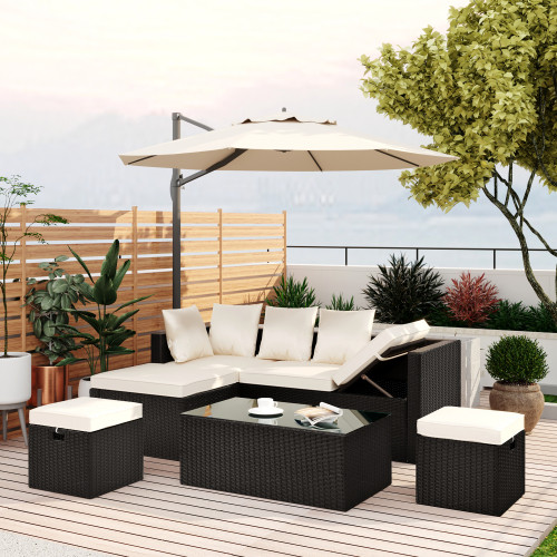 GO 5-Piece Patio Furniture PE Rattan Wicker Sectional Lounger Sofa Set with Glass Table and Adjustable Chair (Black wicker, Beige cushion)