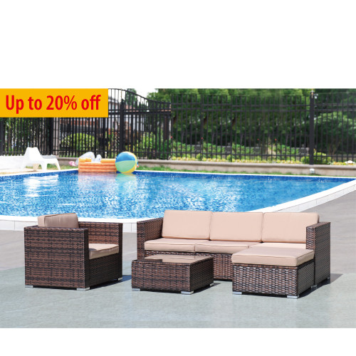 4-Piece PE Rattan Sofa Set with Cushions
