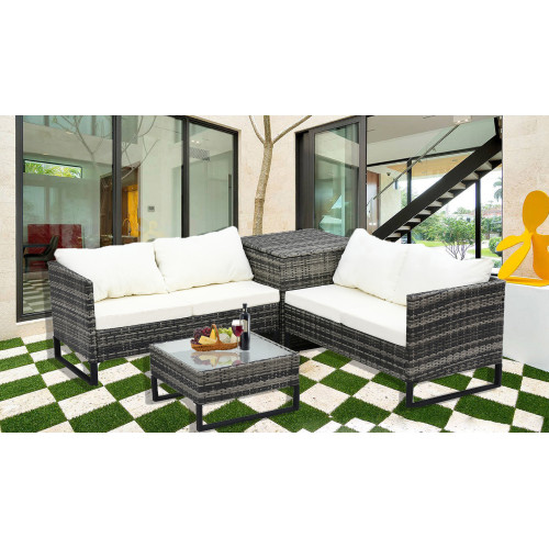 4-Piece With Storage Box Outdoor Conversation Set Rattan Patio Furniture Set Bistro Set Sofa Chairs with Coffee Table (Mixed Gray+Beige)