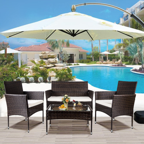 TOPMAX 4 PC Outdoor Garden Rattan Patio Furniture Set Cushioned Seat Wicker Sofa (Brown)