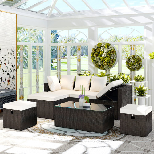 TOPMAX 5-Piece All Weather PE Wicker Sofa Set Rattan Adjustable Chaise Lounge with Tempered Glass Tea Table and Removable Cushions, Beige Cushion+Brown Wicker