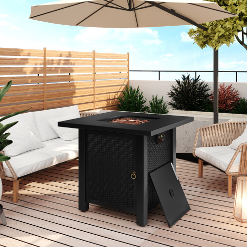 Outdoor Propane Gas Fire Pit Table with Steel Heater and Control Knob for Outdoor, 40000 BTU, Black