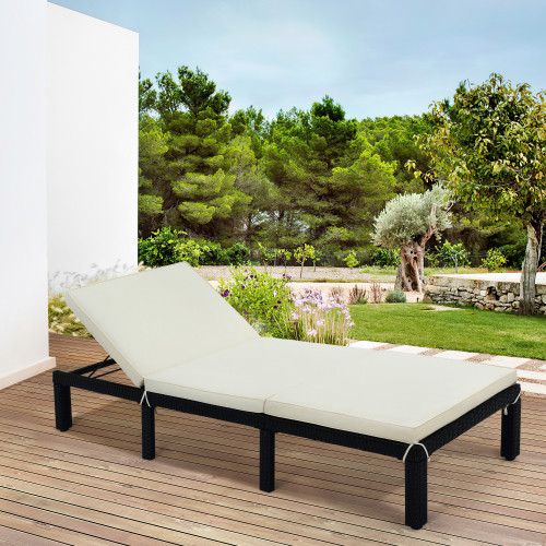 TOPMAX Patio Furniture Outdoor Adjustable PE Rattan Wicker Chaise Lounge Chair Sunbed (Beige Cushion)